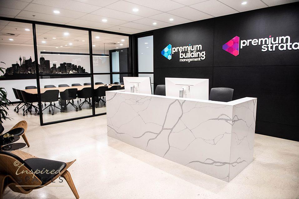 reception desk and polished concrete floor