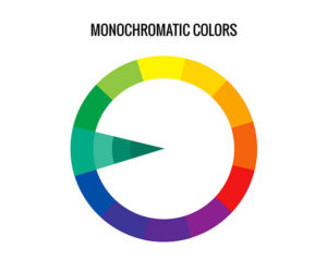 Colour wheel showing monochromatic colour scheme