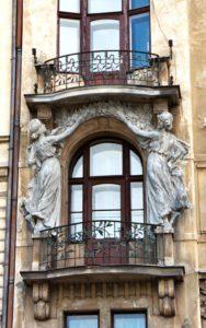 Art Nouveau decorative features around balcony