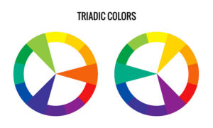 Two colour wheels showing examples of triadic colour schemes