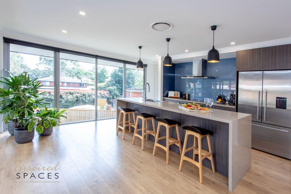 Blue and brown modern kitchen